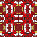 Abstract seamless retro pattern of stylized hearts and squares of contour lines. Red, white, black and yellow geometric kaleidoscopic pattern vector illustration