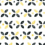 Abstract seamless scandinavian pattern. Hand drawn watercolor background with black and yellow polka dot circles and flowers. Pencils drawn design print Stock Photo