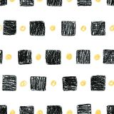 Abstract  scandinavian pattern with black squares and yellow cir. Abstract seamless scandinavian pattern. Hand drawn watercolor background with black squares and Royalty Free Stock Photo