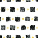 Abstract scandinavian pattern with black squares and yellow circ. Abstract seamless scandinavian pattern. Hand drawn watercolor background with black squares and Royalty Free Stock Photo