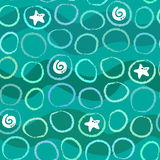 Abstract seamless sea pattern with circles, waves and shells Royalty Free Stock Photography