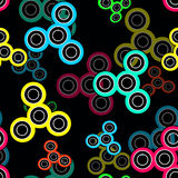 Abstract seamless spinner pattern black. Background stock illustration