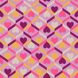 Abstract seamless striped pattern with hearts. Vector illustrati Stock Image