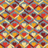 Abstract seamless striped pattern with hearts. Vector illustrati Royalty Free Stock Images