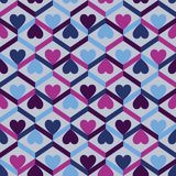 Abstract seamless striped pattern with hearts. Vector illustrati Royalty Free Stock Photo
