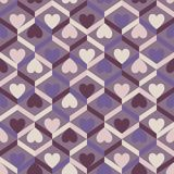 Abstract seamless striped pattern with hearts. Vector illustrati Stock Photography