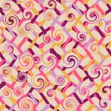 Abstract seamless striped pattern with swirls. Vector illustrati. On Royalty Free Stock Photography