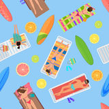 Abstract seamless summer pattern top view. From above summer people in swimming pool. Summertime people with citrus. Lemon, Umbrellas, towels and sunbeds Royalty Free Stock Photography
