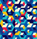 Abstract seamless surround pattern of cubes. Optical effects. Stock Photos
