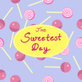 Abstract Seamless Sweetest Day Candies Background. Illustration Stock Image
