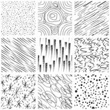 Abstract seamless texture patterns. Simple lined and splatter paint splashes black drop vector pattern set Stock Photography