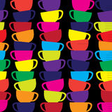 Abstract seamless vector background with cups. Royalty Free Stock Photos
