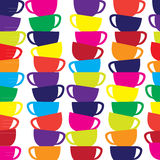 Abstract seamless vector background with cups. Royalty Free Stock Image