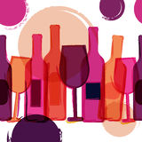 Abstract seamless vector background. Red, pink wine bottles, gla. Sses and watercolor blots. Concept for bar menu, party, alcohol drinks, holidays, wine list Stock Image