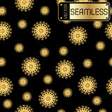 Abstract seamless vector bright golden pattern with swirls on black texture background Royalty Free Stock Photos