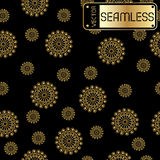Abstract seamless vector golden pattern with swirls on black texture background Royalty Free Stock Image