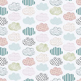 Abstract seamless vector pattern with clouds. Colorful stylized hand drawn cloudy sky texture on gray background Royalty Free Stock Image
