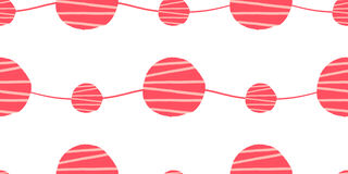 Abstract seamless vector pattern. Red pink and white waves with hand drawn circles background. Abstract seamless vector pattern. Waves with hand drawn circles Stock Image
