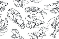 Abstract seamless vector pattern with set of crayfish ink illustrations. Royalty Free Stock Photos