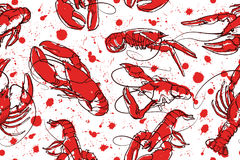 Abstract seamless vector pattern with set of crayfish ink illustrations. Stock Photography