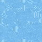 Abstract seamless vector pattern with superposition clouds. Blue stylized hand drawn cloudy sky texture Stock Photos