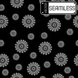 Abstract seamless vector white pattern with swirls on black texture background Royalty Free Stock Photo