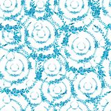 Abstract seamless watercolor pattern with blue color flowers and leaves.Colorful floral ornament for your design. Abstract seamless watercolor pattern with blue vector illustration