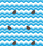 Abstract  seamless wave stripes patterns with shark fin,Repeating texture tiles vector design Stock Images