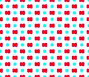 Abstract seamless white background with red flowers and blue squares. Are laid out in rows and form a continuous pattern stock illustration