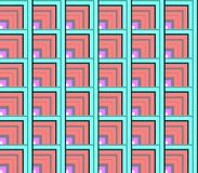 Abstract seamless white and red, blue and green lines and squares and cubes. Are laid in rows to form a continuous pattern vector illustration