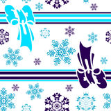 Abstract seamless winter blue background. Abstract seamless blue background with snowflakes and ribbon (vector stock illustration