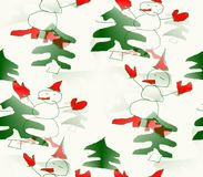 Abstract background  seamless winter many snowmen in hats, mittens and shoes Stock Photography