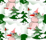 Abstract background seamless winter many snowmen in hats, mittens and shoes Royalty Free Stock Photo
