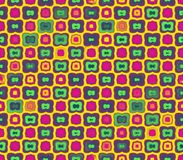 Abstract seamless yellow background of green color with a stroke, and yellow and pink squares with stroke Stock Image