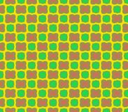 Abstract seamless yellow background of pink flowers and green squares Stock Photography