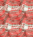 Abstract seashells with corral red triangles. Hand drawn with ink and colored with marker brush seamless background.Creative hand made brushed design stock illustration