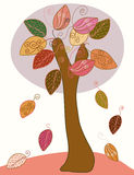 Abstract seasonal autumn tree. With big leaves Royalty Free Stock Photography