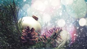Abstract seasonal backgrounds. With christmas decorations and beauty bokeh Stock Image