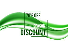 Abstract seasonal sale design background. With green dynamic wavy lines in soft elegant smooth style. Vector illustration royalty free illustration