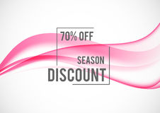 Abstract seasonal sale design background. With pink wavy lines in dynamic elegant style. Vector illustration royalty free illustration