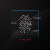 Abstract secure fingerprint design tech sci fi background app website banner Stock Image