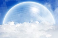 Abstract semisphere above clouds. Concept of protection - abstract semi-sphere above clouds in blue sky Stock Photography