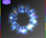 Abstract semitransparent blue light neon line glow ring with colorful spotlight and spark. Transparency in additional format only. Magic sparkling portal on stock illustration