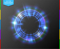 Abstract semitransparent blue light neon line glowing ring with colorful spotlight. Transparency in additional format only royalty free illustration