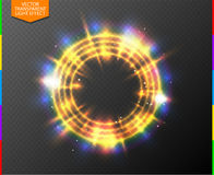 Abstract semitransparent golden light neon line glow ring with colorful spotlight & spark. Transparency in additional format only. Magic sparkling portal on Royalty Free Stock Images