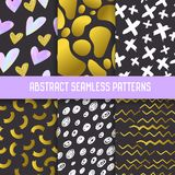 Abstract Semless Patterns Set with Gold Glitter Elements. Dark Hand Drawn Backgrounds Memphis Style for Posters. Cover, Wrapping paper. Vector illustration stock illustration