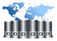 Abstract servers. Global database .modern servers and map royalty free illustration