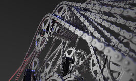 Abstract set of bicycle cogwheels and chains royalty free stock photo