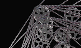 Abstract set of bicycle cogwheels and chains. Set of chains and cogwheels on dark background royalty free illustration