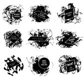 Abstract set of blobs, splash, labels. On background Royalty Free Stock Photo